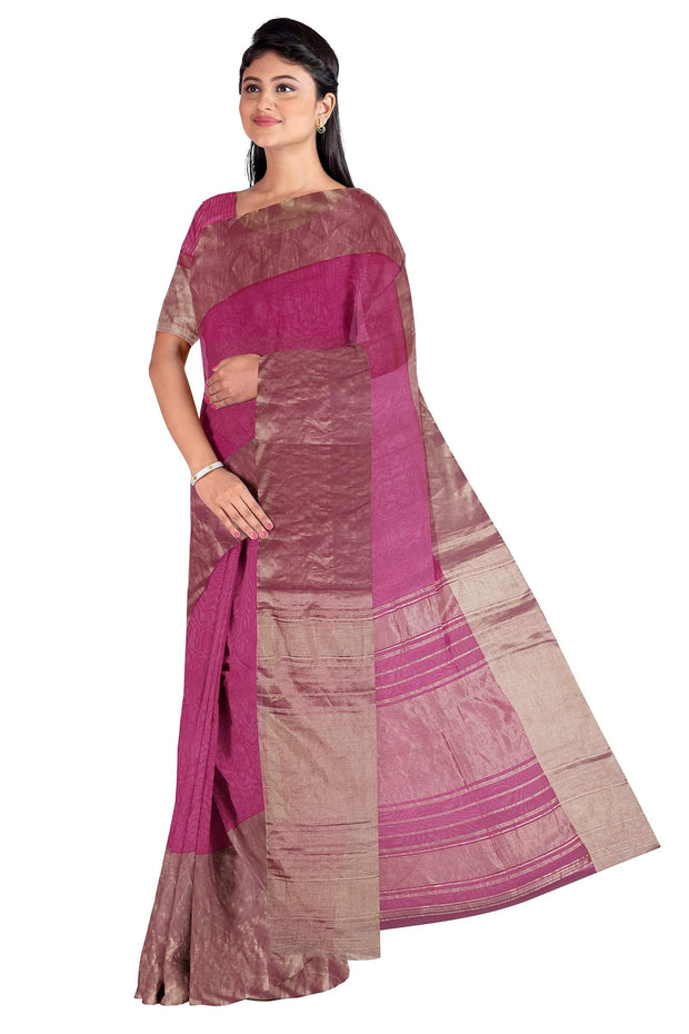 Pink cotton silk saree with tissue border