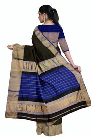 Black maheshwari saree with diamond zari border