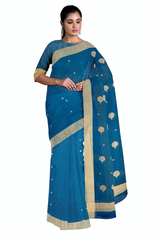 Blue chanderi saree