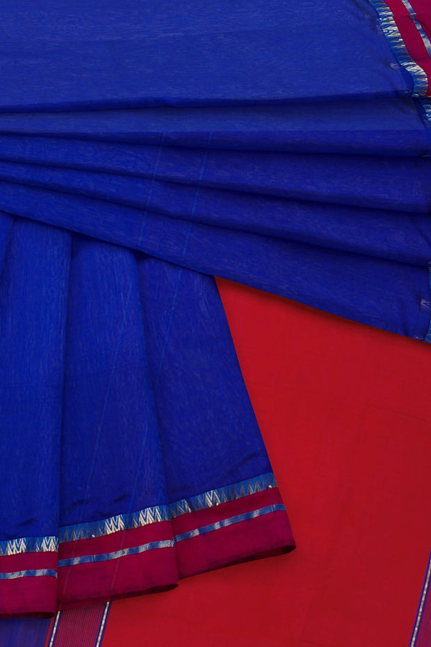 Blue maheshwari cotton silk saree