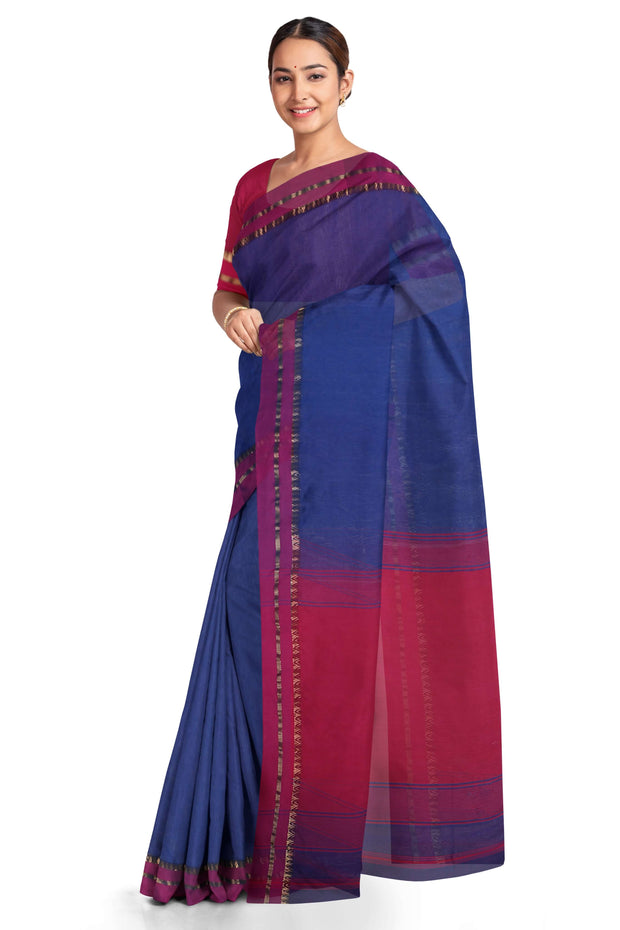 Cotton silk blue maheshwari saree