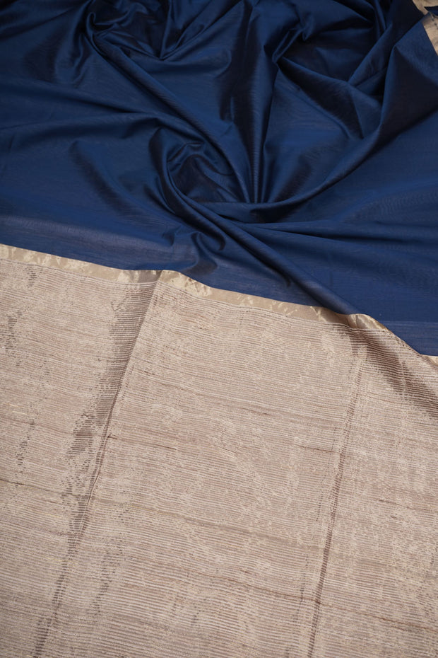 Cotton silk midnight blue maheswari saree