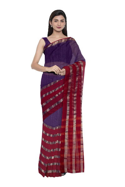Purple half and half cotton silk saree