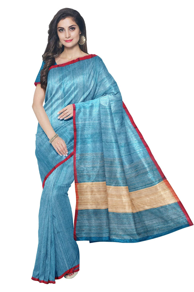Blue maheshwari saree with red border