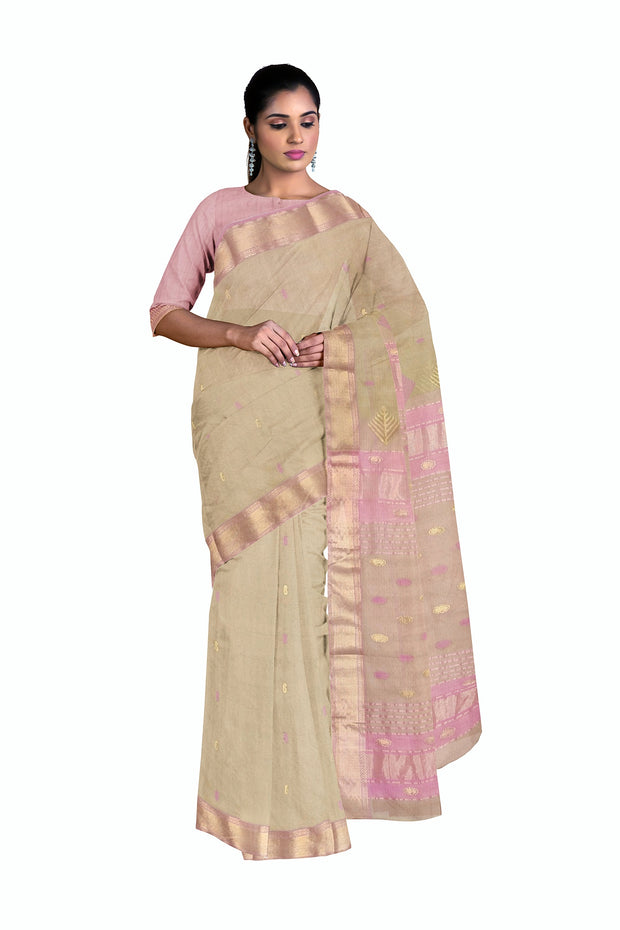 Cream maheshwari saree