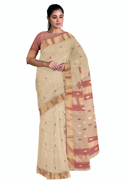 Cream cotton silk maheshwari saree