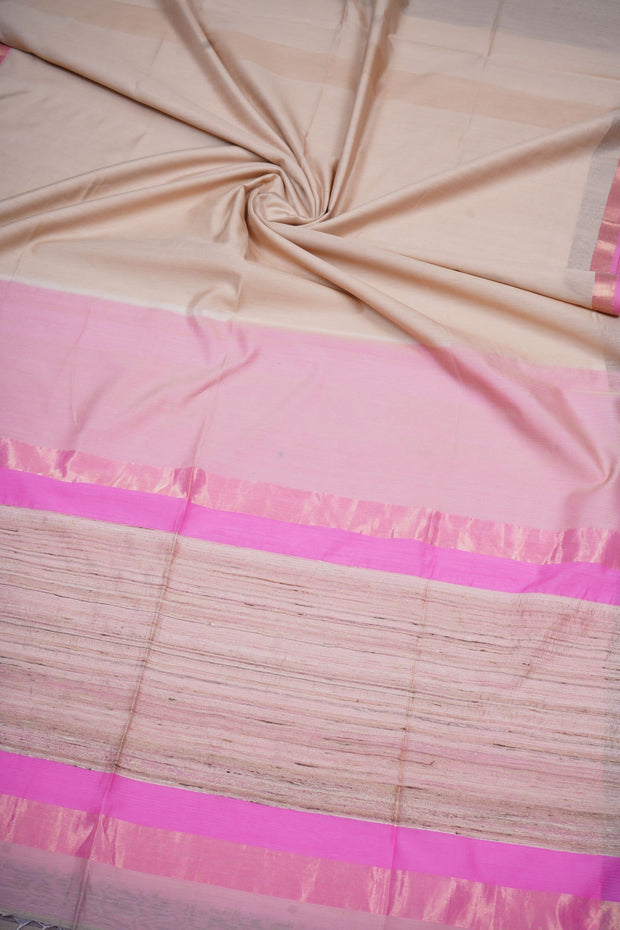 Offwhite maheshwari cotton silk saree
