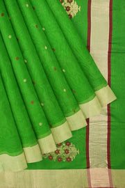 Green chanderi saree