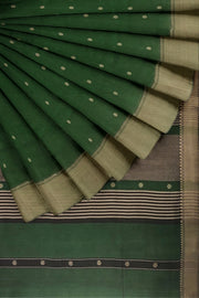 Green cotton silk maheshwari saree