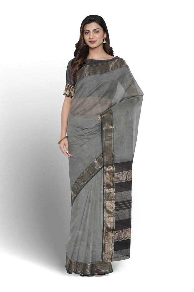 Grey maheshwari saree
