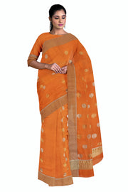 Orange chanderi saree