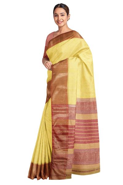 Yellow maheshwari saree