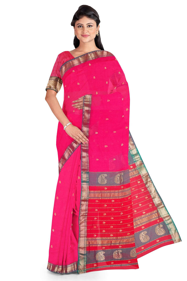 Pink maheshwari cotton silk saree
