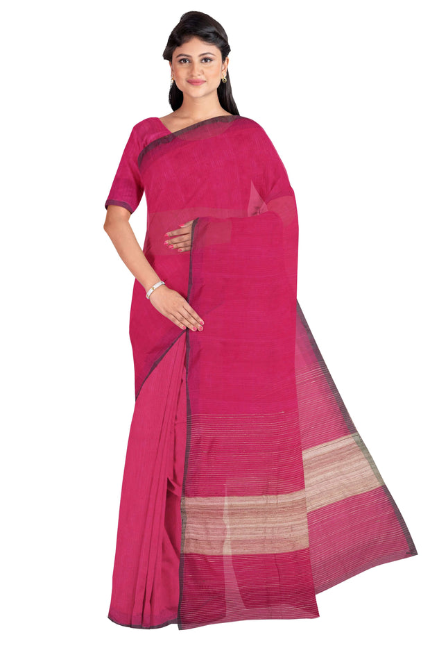 Pink cotton silk saree