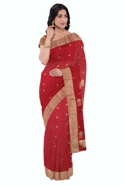 Red chanderi saree