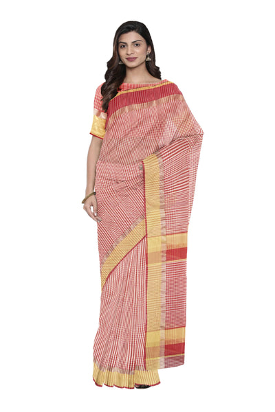 Red checks maheshwari saree