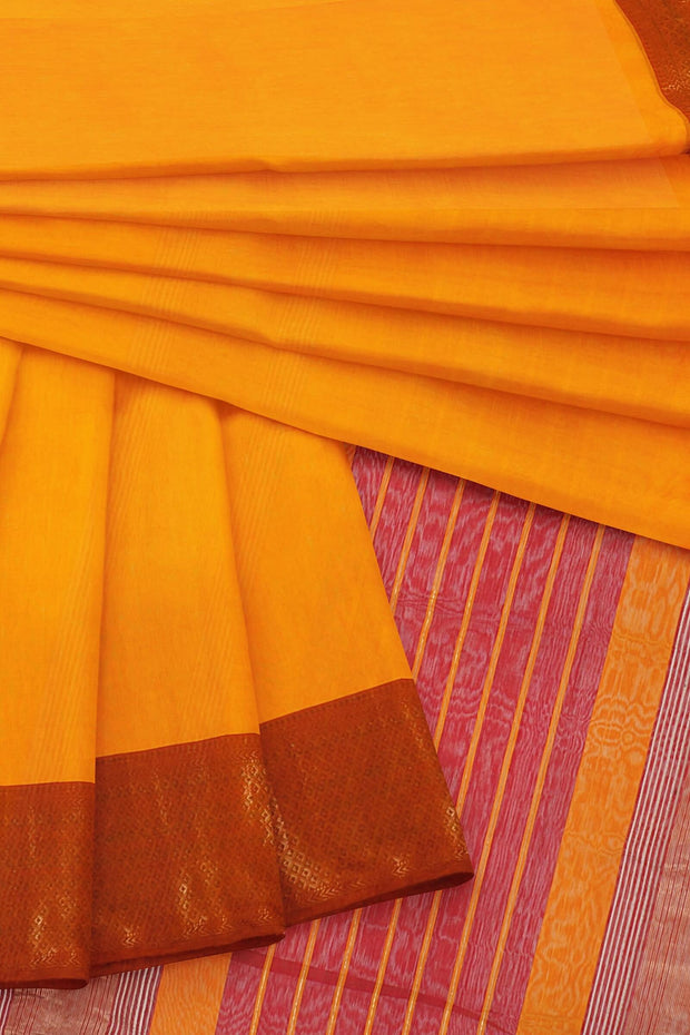 Yellow cotton silk maheshwari saree