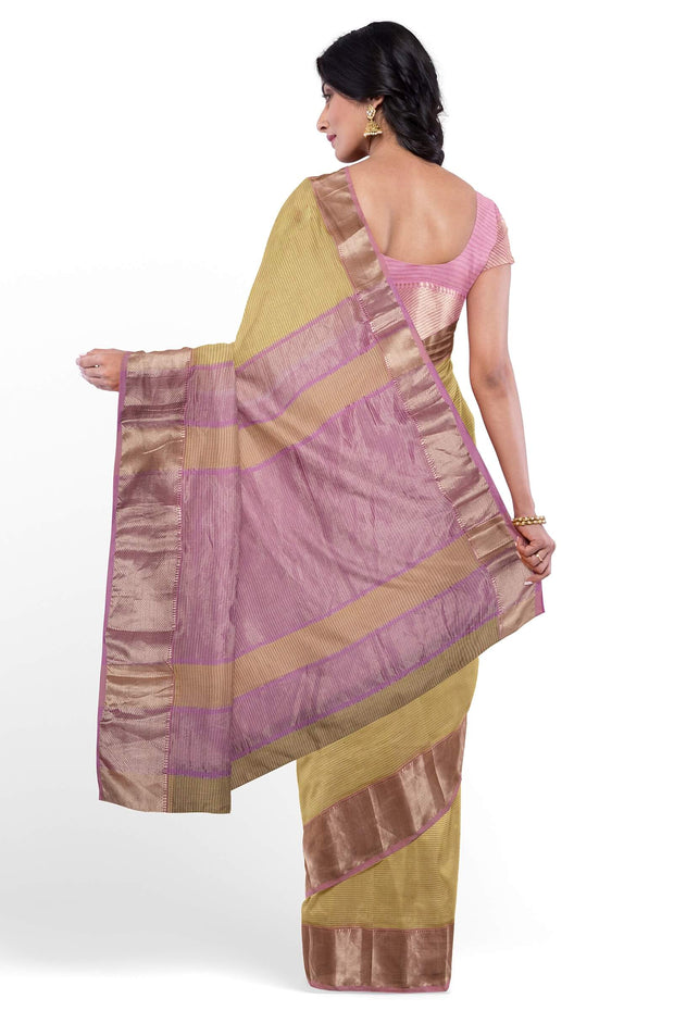 Cotton silk yellow maheshwari saree