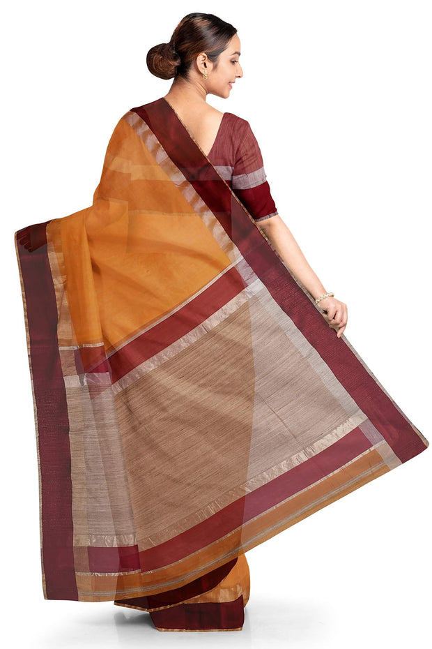 Mustard cotton silk maheshwari saree