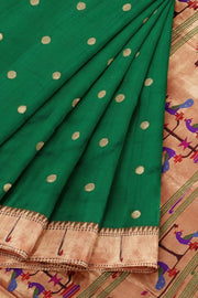 Bottle green muniya border pure silk paithani