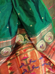 Bottle green pure silk paithani with no zari border