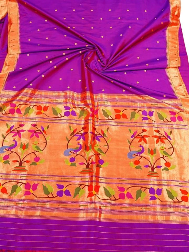 Purple muniya border paithani
