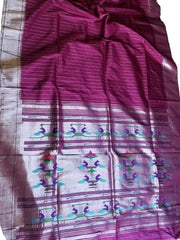Deep wine muniya border paithani