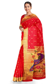 Red muniya border pure silk paithani