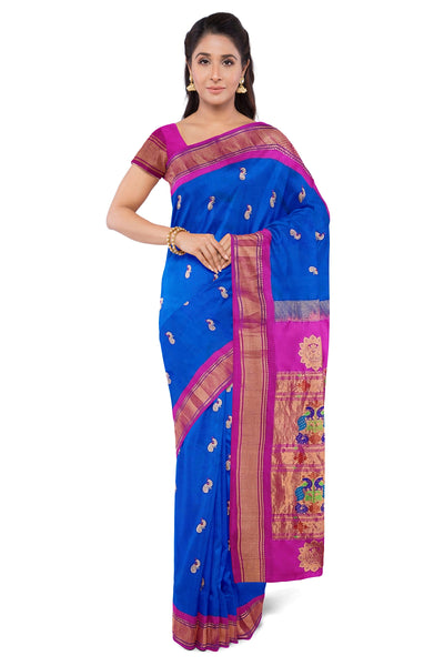 Buy Peacock Blue Paithani with Pink Border