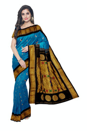 Turquoise paithani with black border