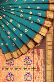Turquoise paithani with rust border