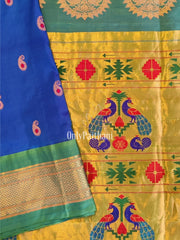 Peacock Blue Paithani with Green Border