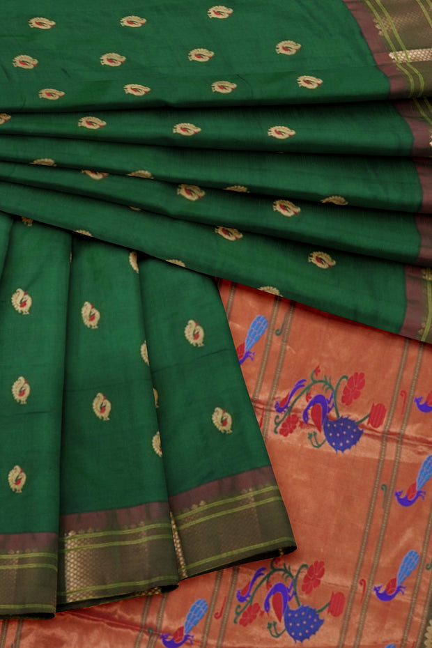 Bottle green peacock butti paithani with rust border