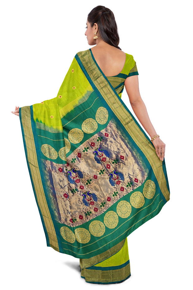 Parrot green pure silk paithani with turquoise border