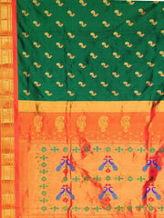 Bottle green peacock butti silk paihani with orange border