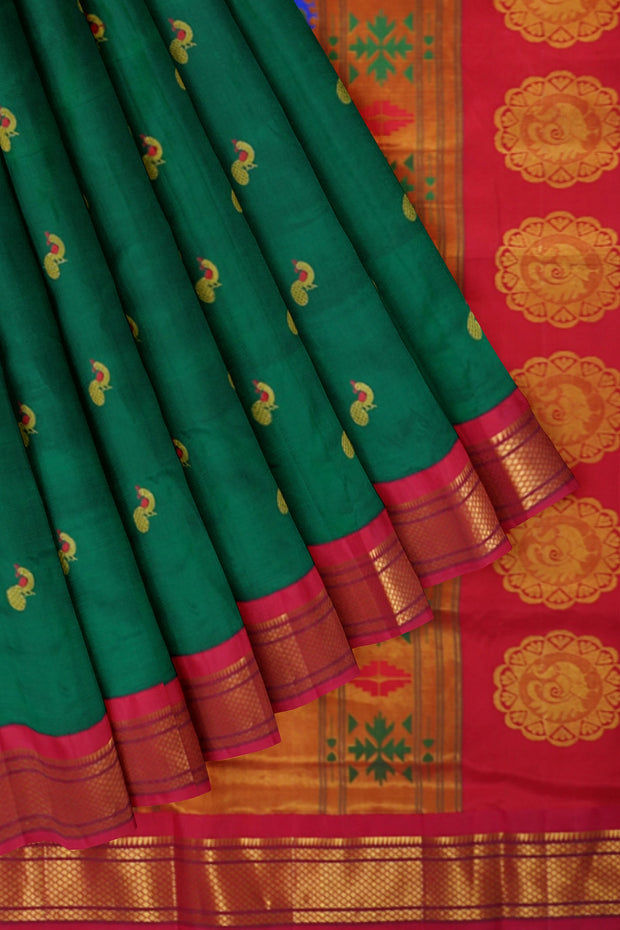 Green meenkari peacock butti paithani with red border