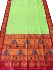 Pista green peacock butti pure silk paithani