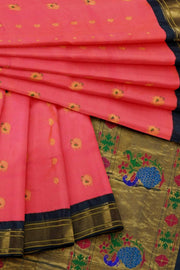 Pink peacock butti paithani with black border