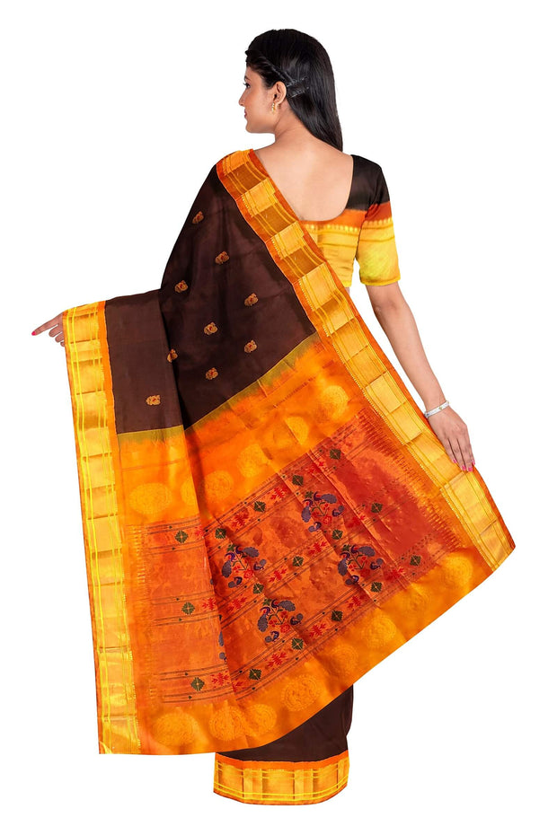 Deep wine peacock butti paithani with mustard border