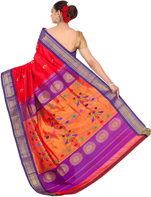 Red paithani with purple border