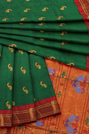 Bottle green paithani with peacock butti