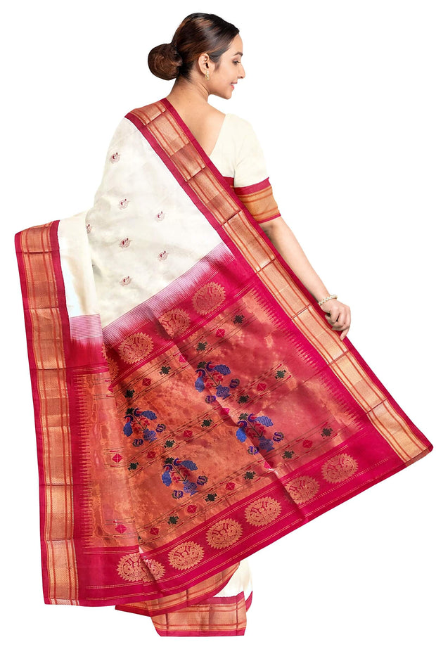 Off White peacock butti silk paithani with red border