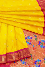 Yellow paithani with pink border