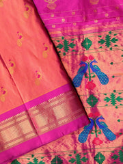 Two tone peach pink peacock butti paithani
