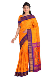 Yellow peacock butti paithani with purple border