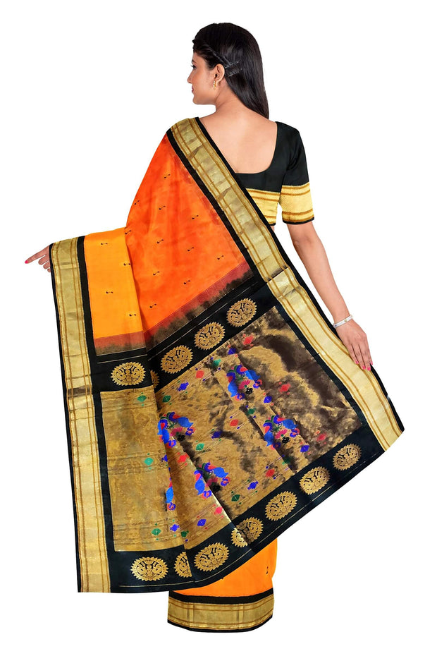Mustard paithani with peacock butti and black border