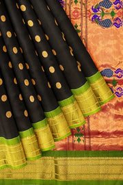 Blue pure silk paithani with green border