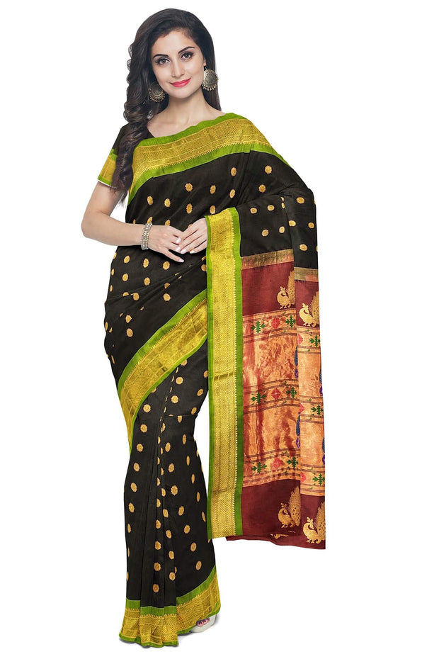 Black pure silk paithani with green border