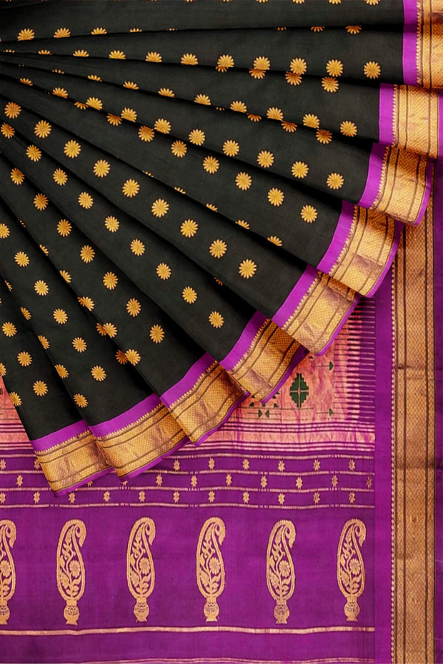 Black paithani with pink border