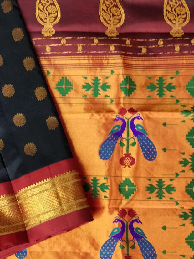 Black maharani silk paithani with maroon border
